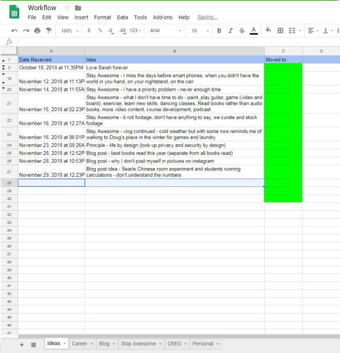 IFTTT spreadsheet 2