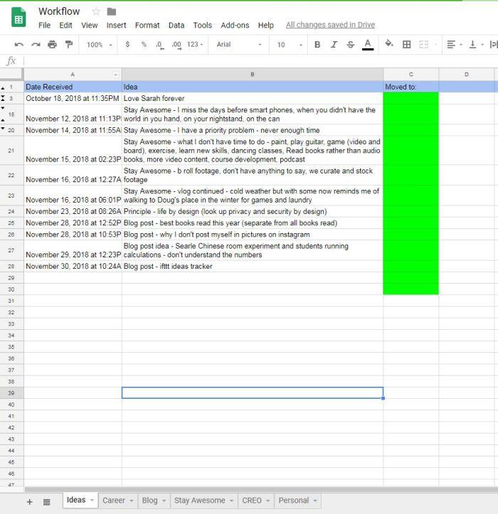 IFTTT spreadsheet